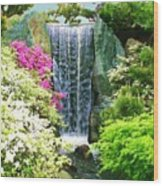 Waterfall In Spring Wood Print