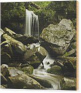 Waterfall In The Spring Wood Print