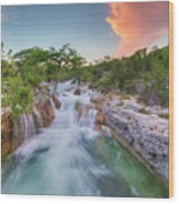 Waterfall In The Texas Hill Country 3 Wood Print