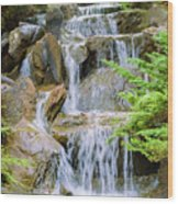 Waterfall In The Vandusen Botanical Garden 1 Wood Print