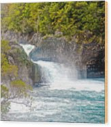 Waterfall In Vicente Perez Rosales National Park Near Puerto Montt-chile  Wood Print