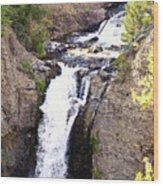 Waterfall In Yellowstone Wood Print