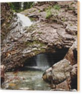 Waterfall Into A Cave Wood Print