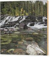 Waterfall Mcdonald Creek Wood Print