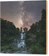 Waterfall Milky Way  Wood Print