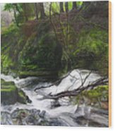 Waterfall Near Tallybont-on-usk Wales Wood Print