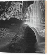 Waterfall Of The Caverns Black And White Wood Print