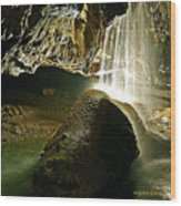 Waterfall Of The Caverns Wood Print