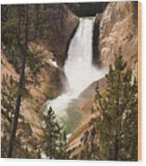 Waterfall Of Yellowstone Wood Print