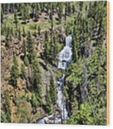 Waterfall On Lava Creek 1 Wood Print