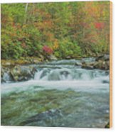 Waterfall On Little Pigeon River Smoky Mountains Wood Print