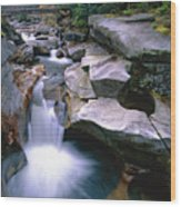 Waterfall On The Ammonoosuc River  Wood Print