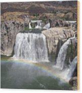 Waterfall Rainbow Wood Print