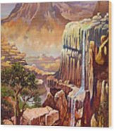 Waterfall Rocks And Sun Wood Print