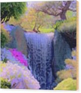 Waterfall Spring Colors Wood Print