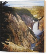 Waterfall Yellowstone 2 Wood Print