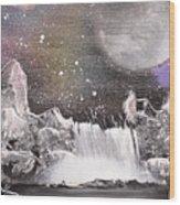 Waterfalls At Night Wood Print