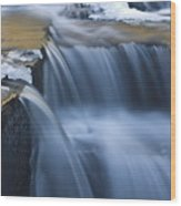 Waterfalls In Blue And Gold Wood Print