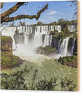 Waterfalls In Frame Wood Print
