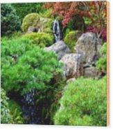 Waterfalls In Japanese Garden Wood Print
