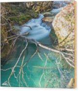 Waterfalls In The Nature Reserve Urederra Wood Print