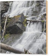 Waterfalls Of Lost Creek Wood Print by Dana Moyer