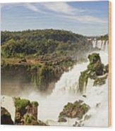 Waterfalls On Iguazu River Wood Print