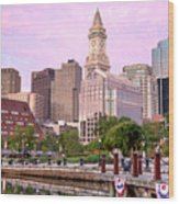 Waterfront Park Pink Wood Print by Susan Cole Kelly