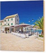 Waterfront Promenade Og Town Primosten Wood Print