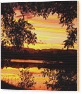 Waterfront Spectacular Sunset Wood Print
