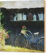 Watering Cans And Gerbera Daisies Wood Print by Stephanie Calhoun