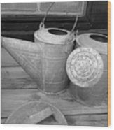 Watering Cans And Tubs B  W Wood Print