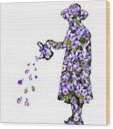 Watering Flowers Wood Print