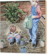 Watering The Plants Wood Print