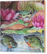 Waterlillies And Blue Giles Wood Print
