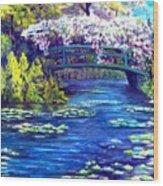 Waterlilly Bridge Wood Print