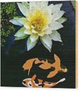 Waterlily And Koi Pond Wood Print
