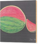 Watermelon Wood Print by M Valeriano