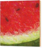 Watermelon With Three Seeds Wood Print