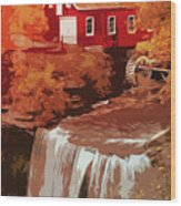 Watermill In Autumn Wood Print