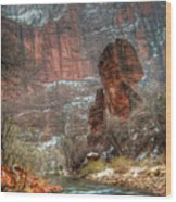 Waters Rushing At The Temple Of Sinawava Wood Print