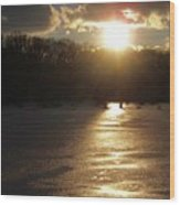 Watershed Sunset Wood Print