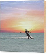 Watersport On Thecaribbean Sea At Aruba Island At Sunset Wood Print
