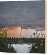 Waterspout Over Pass A Grill Wood Print
