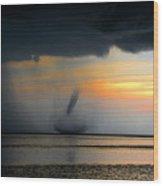 Waterspout Panoramic Wood Print