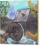 Waterwheel Wood Print