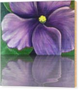 Watery African Violet Reflection Wood Print