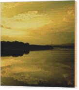 Watery Color Sunset Wood Print