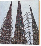 Watts Towers 2 - Los Angeles Wood Print