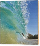 Wave Breaking At Makena Wood Print